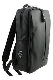 black vertical line zipper faux leather backpacks