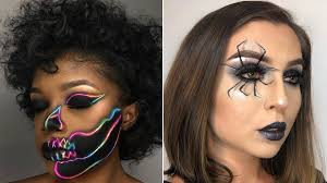 sofia hernandez spider and jarrytheworst neon skull halloween makeup costume