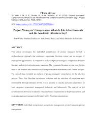 Project Manager Job Description Pdf Project Managers Competences What Do Job
