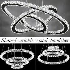 crystal elipse 3 ring chandelier led modern contemporary lighting 24 usa vip