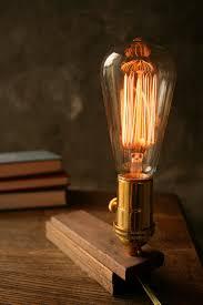wood lamp diy book lamp light shabby chic cool gifts for men lighting edison bulb lamp acacia wood and marconi filament bulb