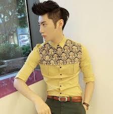 <b>New Fashion</b> 2014 Spring Summer Floral Splicing Shirt Slim Asian ...