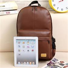 bagail casual men pu leather backpack laptop outdoor school bookbag
