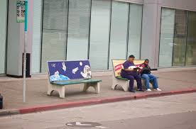 anti advertising agency bus stop bench with people anti advertising agency office