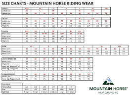 Polar Size Chart Mountain Horse Polar Breeches