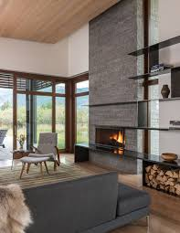 Shoshone Residence By Carney Logan Burke Architects Very nice materials mix  -warm but modern. Modern Stone FireplaceConcrete FireplaceStone  FireplacesModern ...