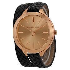 michael kors slim runway rose dial black embossed leather las watch mk2322