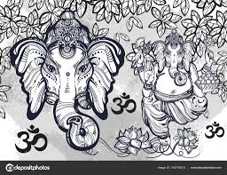 Hindu Lord Ganesha Over Watercolor Background Beautiful Floral
