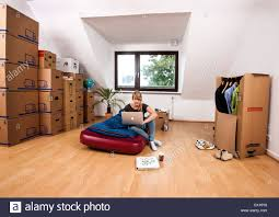 No Furniture Living Room Young Woman In Her New Apartment Still No Furniture Living Out