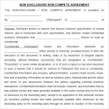 Business Non Compete Agreement Sample Confidentiality For ...