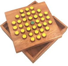 Wooden Peg Solitaire Game Solitaire Pegs Strategy Wooden Game 49