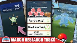 March Research Tasks Mankey Shiny Regice Regirock Registeel Pokemon Go
