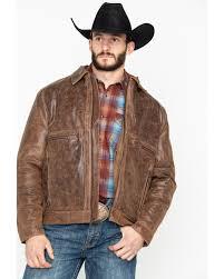 cripple creek men s distressed open bottom zip front leather jacket brown