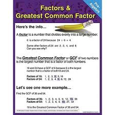 Greatest Common Factor Chart Pre Algebra Chart Factors And Greatest Common Factor