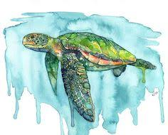 sea turtle painting watercolor painting sea turtle print sea turtle wall art beach decor print green sea turtle print titled honu  on turtle wall art painting with sea turtle painting original watercolor painting 14 x 11 in blue