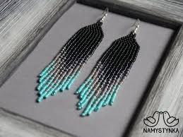 turquoise beaded earrings seed bead earrings long earrings native earrings grey chandelier earring boho earring beadwork earring fringe