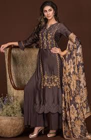 Satin Silk Dress Designs Designer Satin Silk And Crepe Embroidered Salwar Suit Sets