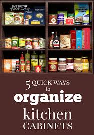 organized cabinets with pantry food items