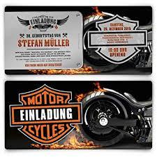 Einladungen Zum Geburtstag 50 Stück Biker Motorrad Motiv