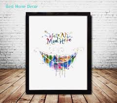 we are all mad here quote alice in wonderland wall art nursery decor watercolor wall art on alice wonderland wall art with we are all mad here quote alice in wonderland wall art nursery decor
