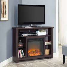 44 wood corner tall fireplace tv stand for tvs up to 60 espresso