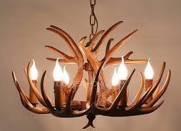 vintage light brown resin fixture faux antler chandelier