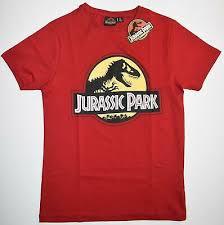 jurassic park t shirt mens red 25th