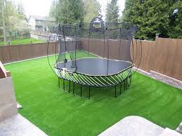 artificial turf yard.  Yard Lawnwithtrampoline2syntheticturfnorthwest Throughout Artificial Turf Yard I