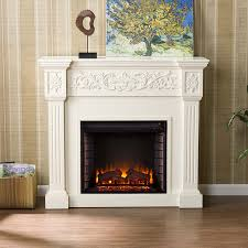 44 5 holly martin huntington electric fireplace ivory beautiful carved wood columns accent