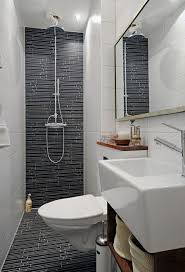Doorless Shower Ideas In Cool Small Bathroom Design With Floating Toilet  Feat Wall Hung Sink And ...