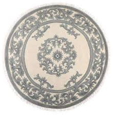 filigree aubusson blue 8 ft x 8 ft round area rug