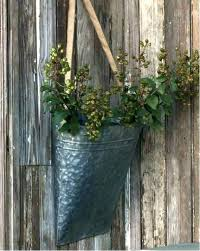 metal wall planter round galvanized 10 grey threshold mounted vases pocket planters wal