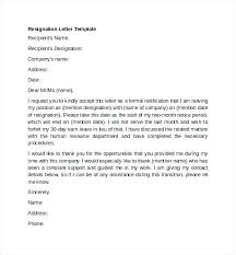 Good Letter Of Resignation Form Letter Template Word Best Form