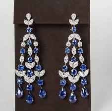 a fabulous pair of sapphire and diamond chandelier earrings 24 68 carats of blue sapphire 13 36