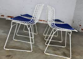sold vintage mid century modern bertoia white wire side chairs w blue seat pads set of 4
