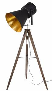 Lucide Vloerlamp Marlowe Houten Poten Zwarte Metalen Lampenkap