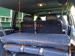 ceiling to rear seat folded top 72 5cm 28 5 inches floor to rear seat folded back 46cm 18 5 inches rear seat side to wall 10 5cm 4 1 inches