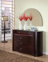 brown color modern dresser with mirror and 5 drawer under wall mounted half moon mirror ideas