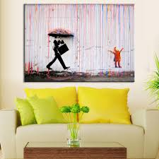 Paintings For Living Room Wall Aliexpresscom Buy Banksy Art Colorful Rain Wall Canvas Wall Art