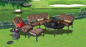 round bbq firepit table elizabeth 7pc seating group with 52