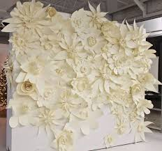 White Paper Flower Wall This Would Make Great Bridal Booth Backdrop At A Wedding Fair White