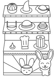 帽子屋さんうさぎ 塗り絵 無料 動物カテゴリー その他カテゴリー