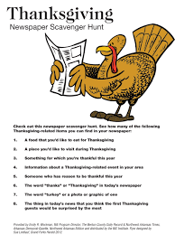 thanksgiving newspaper scavenger hunt nie rocks
