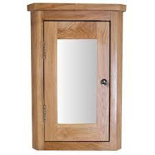 Oak Wall Mounted Corner Bathroom Mirror Cabinet