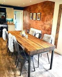 wood and metal dining table reclaimed industrial sleeper seat solid wood metal dining table round wood top metal base dining table