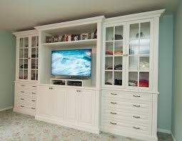 TV stand, dresser, and display shelves combination creates elegant built-in  style efficiency