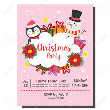 Christmas Invitation Card Christmas Party Invitation Card Snowman Penguin