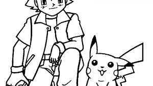 Kleurplaat Pokemon Met Pikachu En Ash Kleurplaatjenl