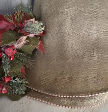 Amazon.com: Burlap Christmas Tree Skirt with Red and White French Ticking,  Large Rustic Christmas Tree Skirt Approx. 60