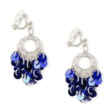 claires accessories girls blue sequin chandelier clip on drop claire s clip on earrings
